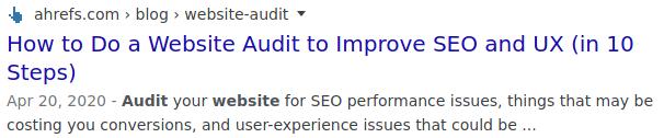 Meta Description in a Search result page.