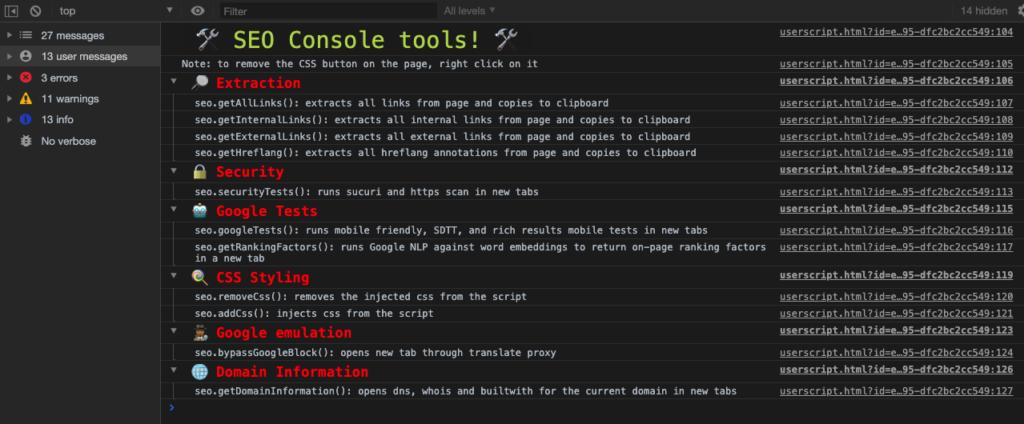 seo tools in chrome dev tools